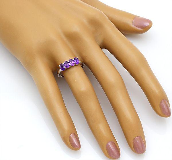 Кольцо с аметистом в серебре 925 пробы