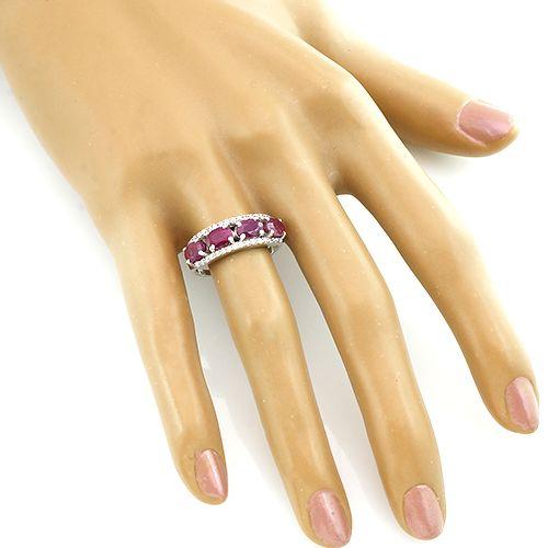 Кольцо с рубином из серебра 925 пробы – Mirserebra925.ru