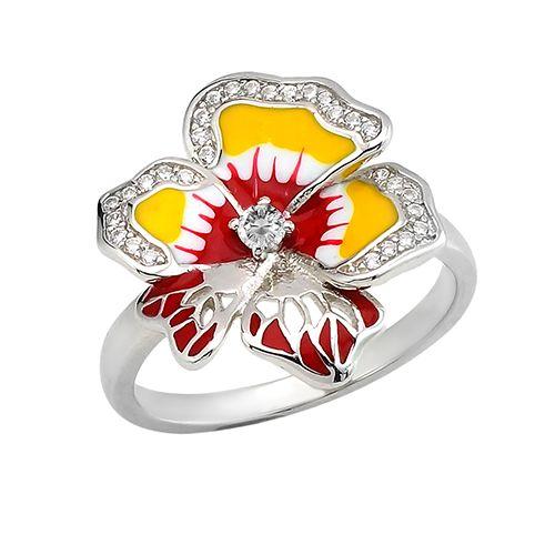 Серебряное кольцо с эмалью и цирконом ‒ Mirserebra925.ru