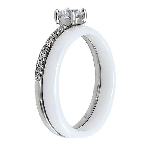 Кольцо из керамики в серебре 925 пробы