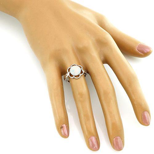 Кольцо с опалом из серебра 925 пробы – Mirserebra925.ru