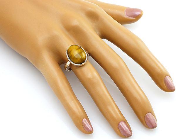 Кольцо с тигровым глазом из серебра 925 пробы