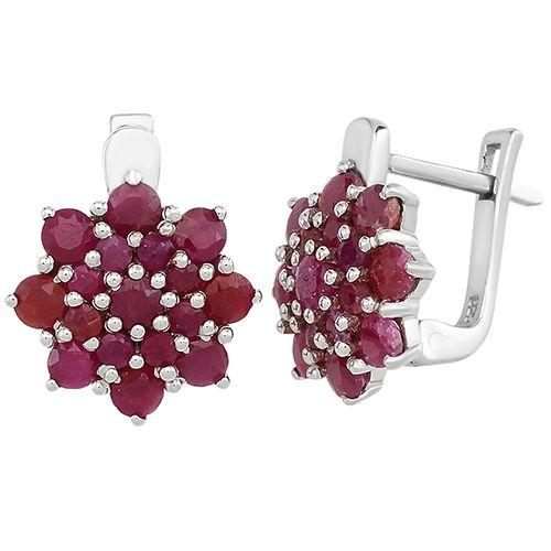 Серебряные серьги с рубином – Mirserebra925.ru