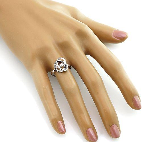 Кольцо с цирконом из серебра 925 пробы ‒ Mirserebra925.ru