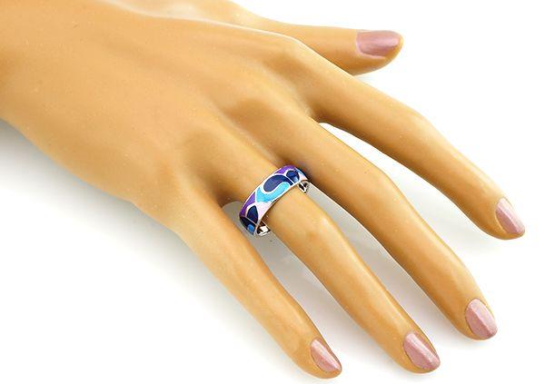 Кольцо с эмалью из серебра 925 пробы