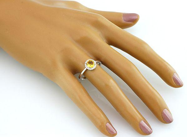 Кольцо с цитрином из серебра 925 пробы