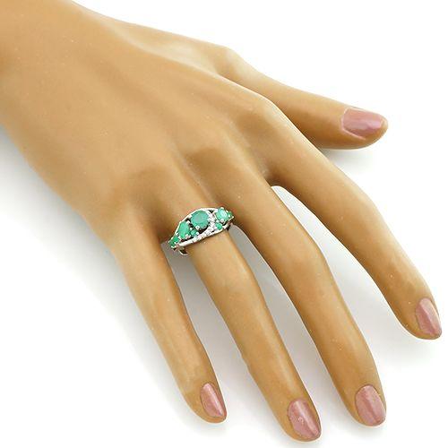 Кольцо с изумрудами из серебра 925 пробы – Mirserebra925.ru