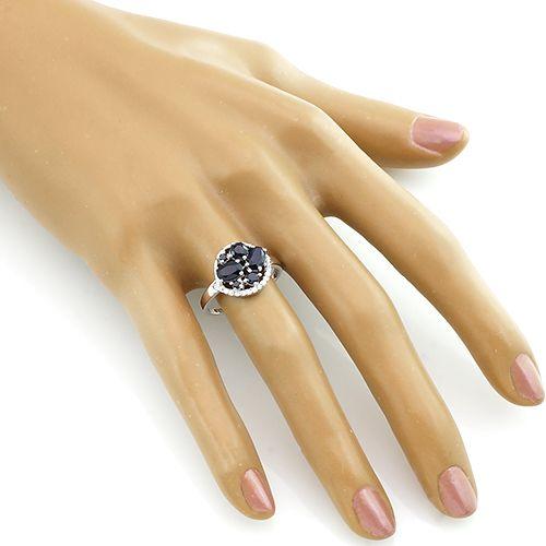 Кольцо с сапфирами из серебра 925 пробы – Mirserebra925.ru