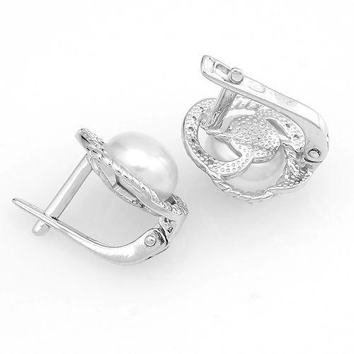 Серьги с жемчугом в серебре 925 пробы ‒ Mirserebra925.ru