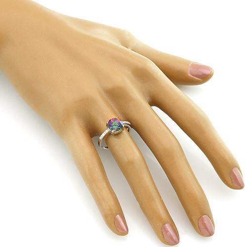 Кольцо с мистик кварцем из серебра 925 пробы ‒ Mirserebra925.ru