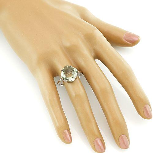 Кольцо с зеленым аметистом из серебра 925 пробы – Mirserebra925.ru
