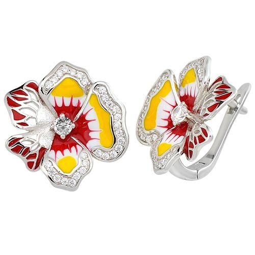 Серебряные серьги с эмалью ‒ Mirserebra925.ru