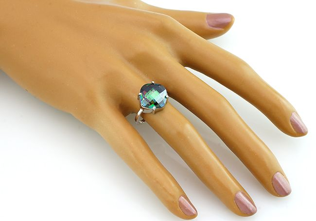 Кольцо с мистик кварцем из серебра 925 пробы - Mirserebra925.ru