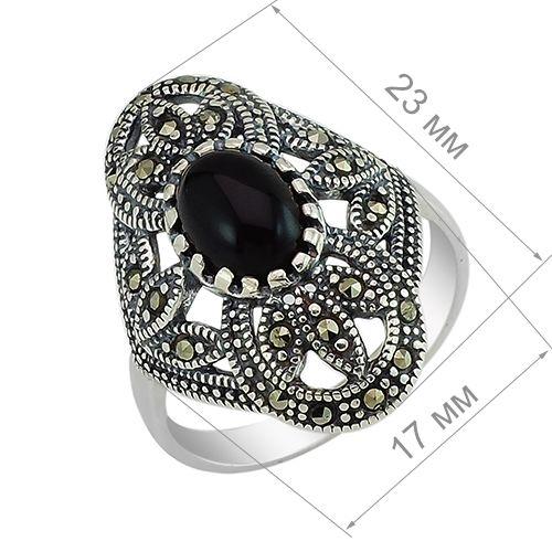 Кольцо с марказитом и ониксом из серебра 925 пробы ‒ Mirserebra925.ru