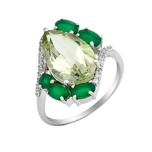 Кольцо с зеленый аметистом и зеленым агатом – Mirserebra925.ru