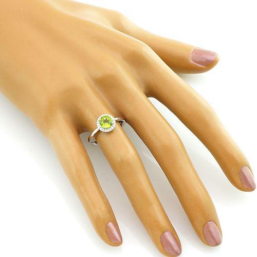 Кольцо с хризолитом из серебра 925 пробы – Mirserebra925.ru