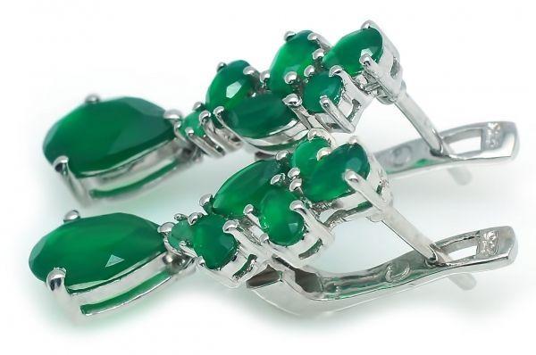 Серьги из серебра с зеленым агатом