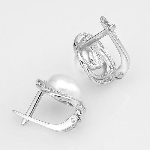 Серьги с жемчугом из серебра 925 пробы ‒ Mirserebra925.ru