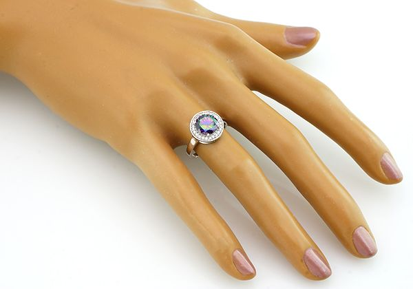 Кольцо с мистик кварцем из серебра 925 пробы