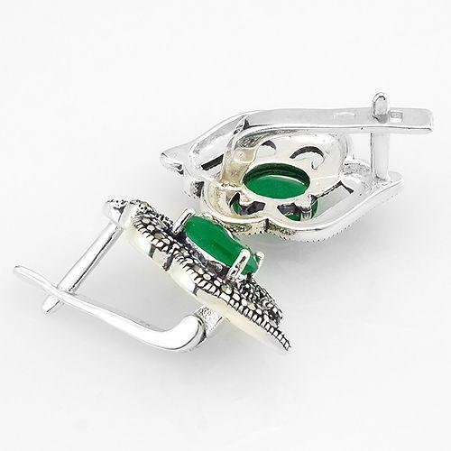 Серьги с марказитом и зеленым агатом из серебра 925 пробы ‒ Mirserebra925.ru