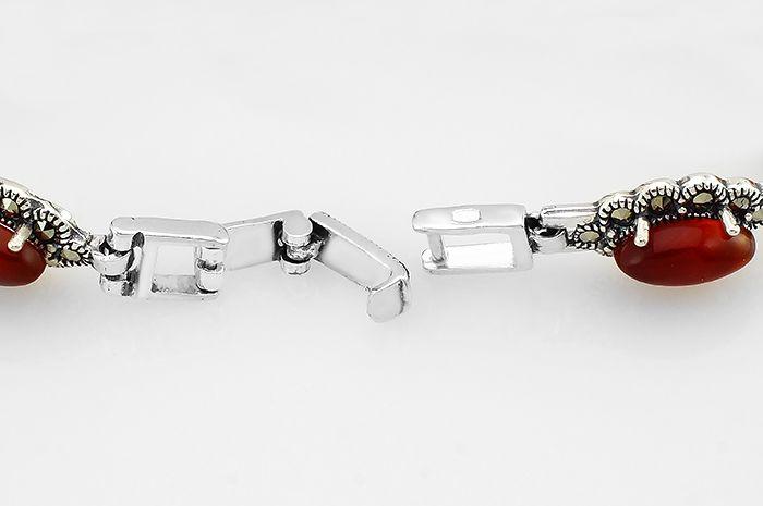 Серебряный браслет с марказитами и сердоликом ‒ Mirserebra925.ru