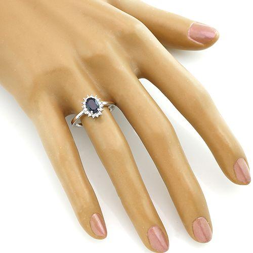 Кольцо с сапфиром из серебра 925 пробы – Mirserebra925.ru