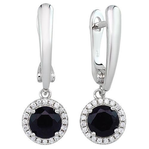 Серебряные серьги с сапфиром – Mirserebra925.ru