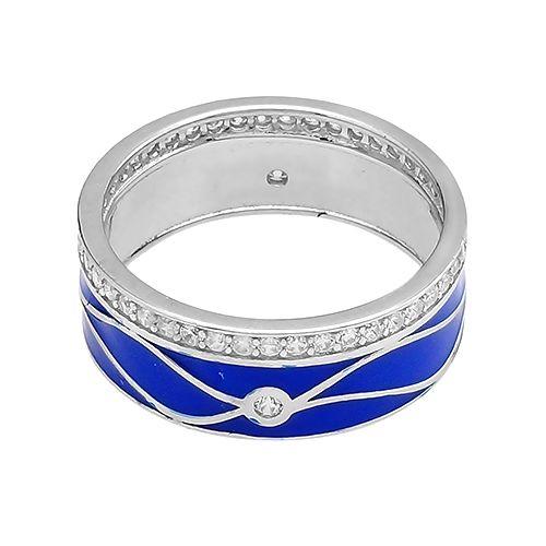 Кольцо с эмалью в серебре 925 пробы