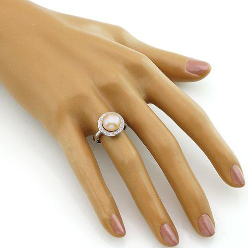 Кольцо с жемчугом из серебра 925 пробы ‒ Mirserebra925.ru