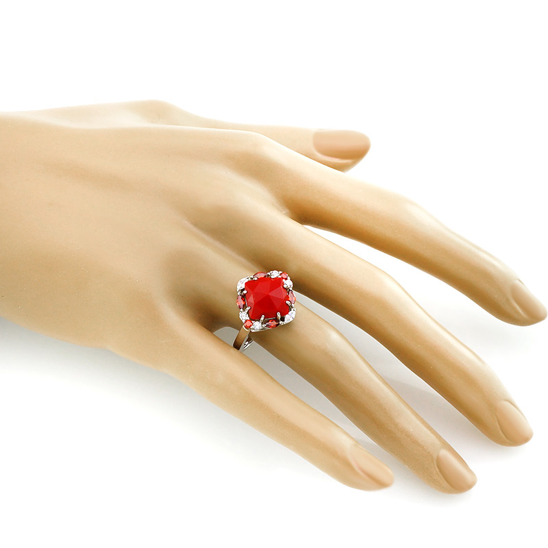 Кольцо с кораллом ‒ Mirserebra925.ru