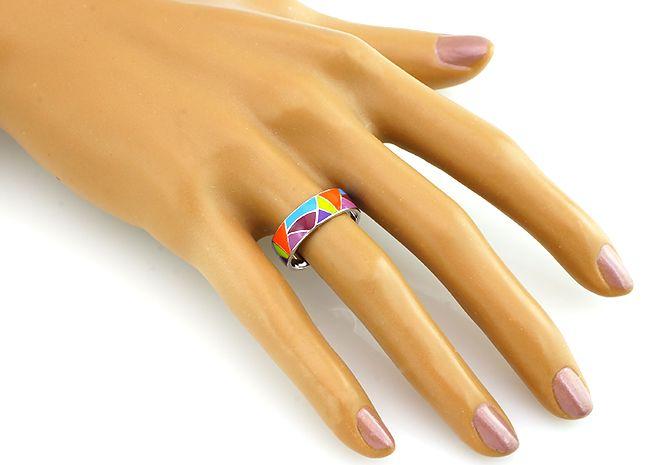 Кольцо с эмалью из серебра 925 пробы - Mirserebra925.ru