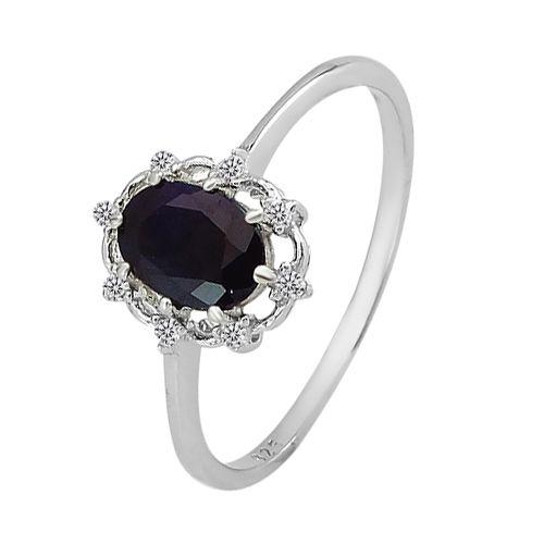 Серебряное кольцо с сапфиром – Mirserebra925.ru