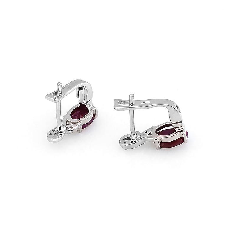 Серьги с рубином из серебра 925 пробы – Mirserebra925.ru