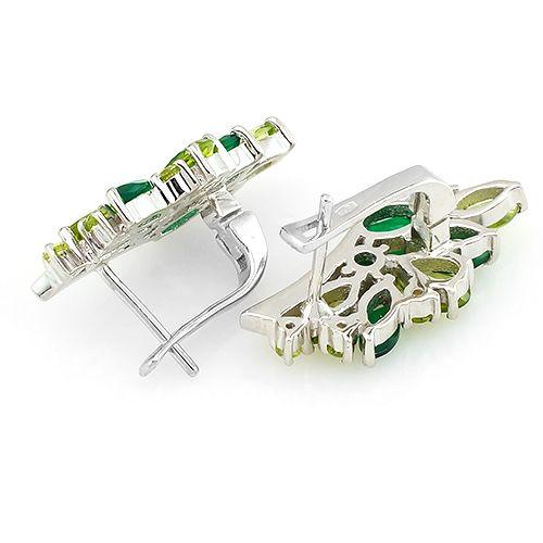Серьги с зеленым агатом и хризолитом из серебра 925 пробы – Mirserebra925.ru