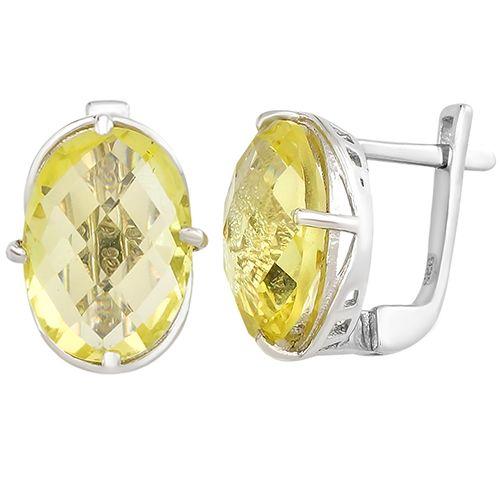Серебряные серьги с лимонным топазом – Mirserebra925.ru