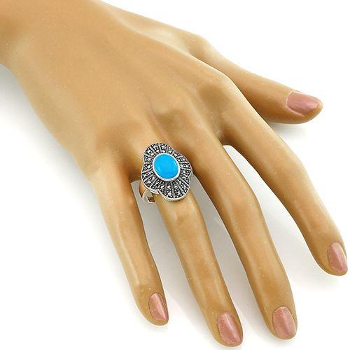 Кольцо с марказитом и бирюзой из серебра 925 пробы ‒ Mirserebra925.ru