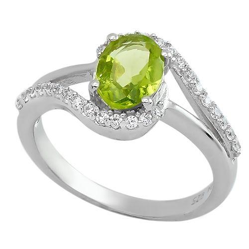 Серебряное кольцо с хризолитом – Mirserebra925.ru