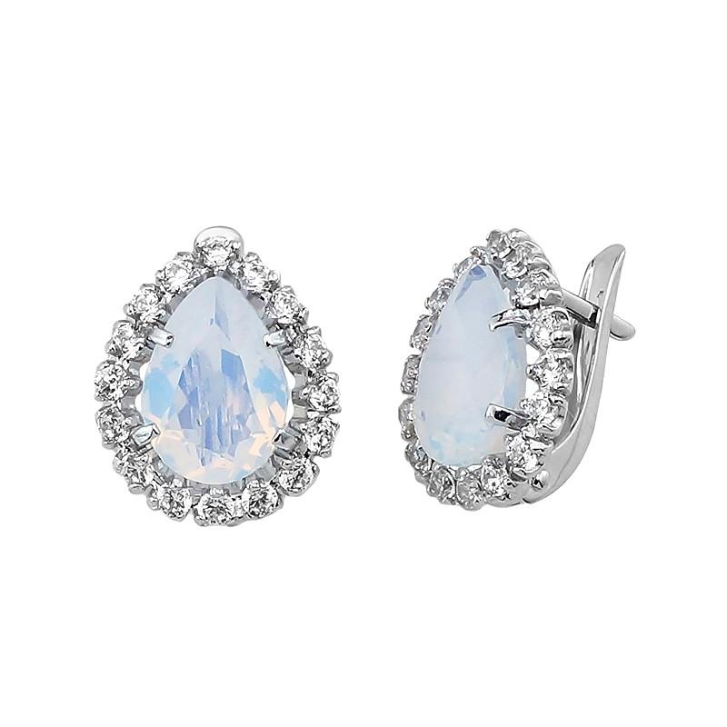 Серебряные серьги с лунным камнем – Mirserebra925.ru