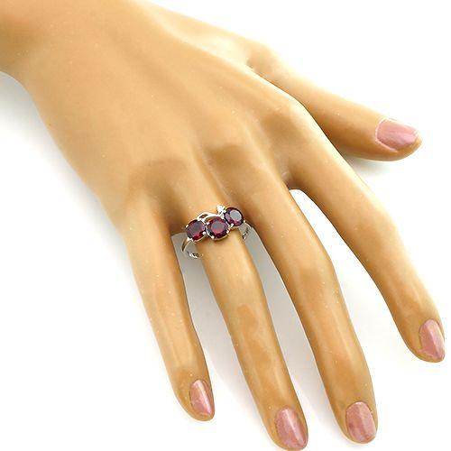 Кольцо с родолитом из серебра 925 пробы – Mirserebra925.ru