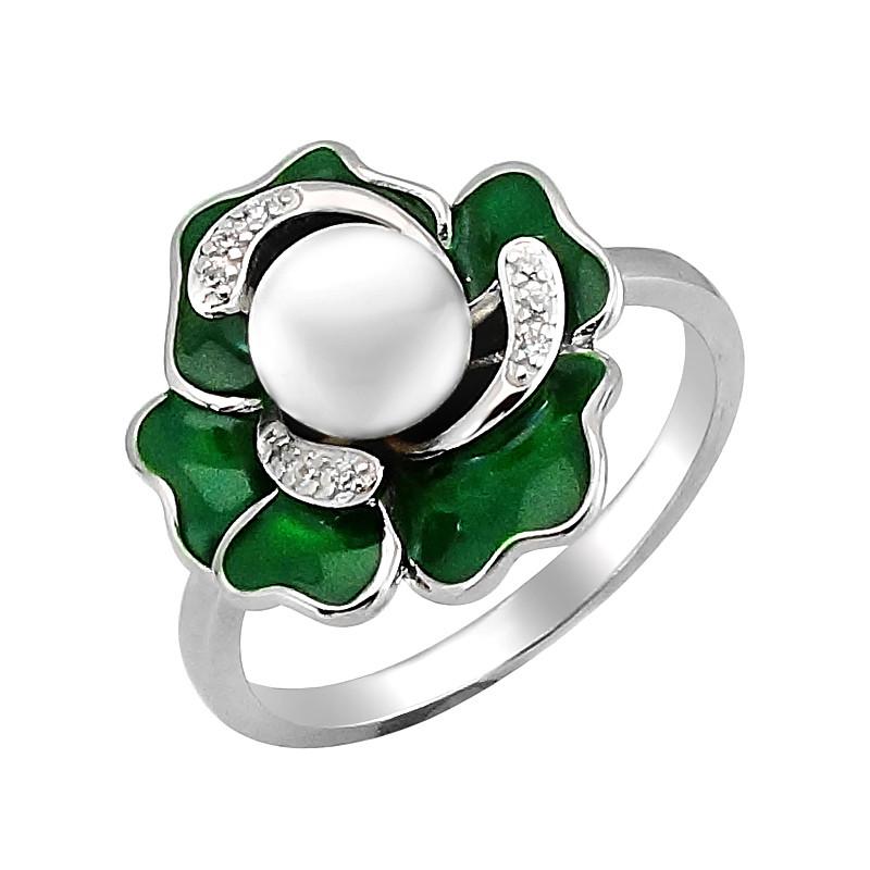 Серебряное кольцо с эмалью и жемчугом ‒ Mirserebra925.ru