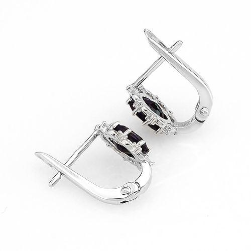 Серьги с сапфиром из серебра 925 пробы – Mirserebra925.ru