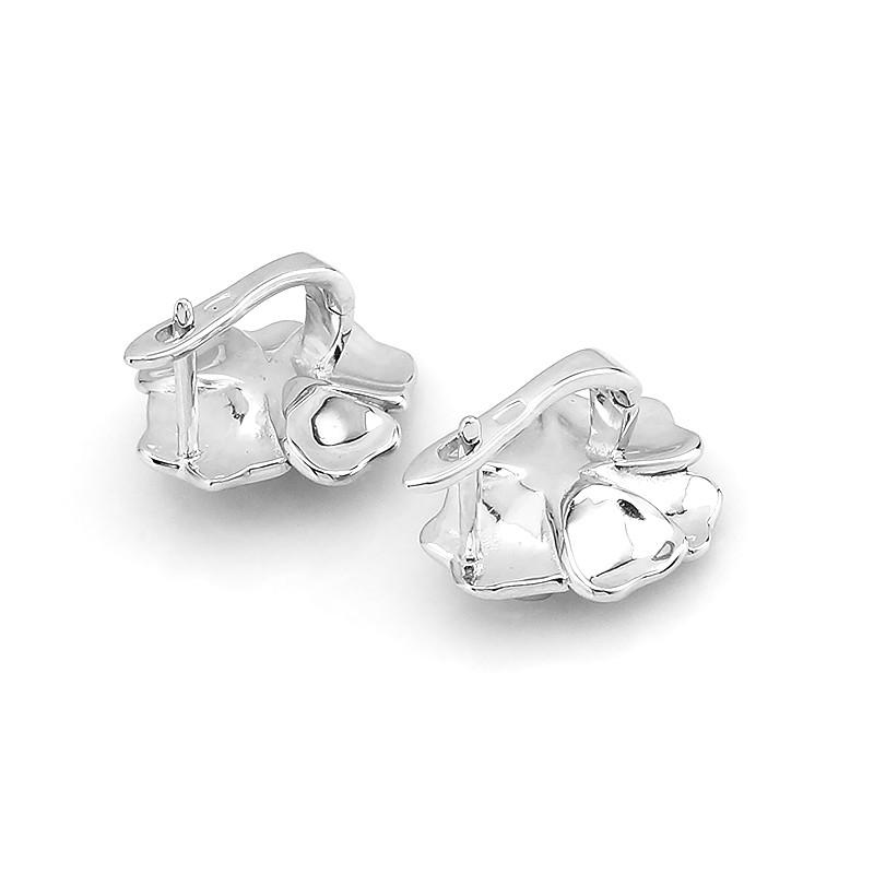 Серьги с эмалью и жемчугом серебряные ‒ Mirserebra925.ru