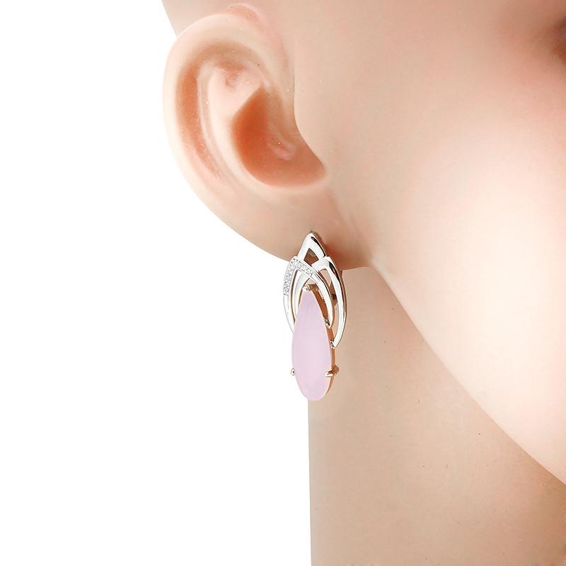 Серьги с розовым кварцем серебряные – Mirserebra925.ru