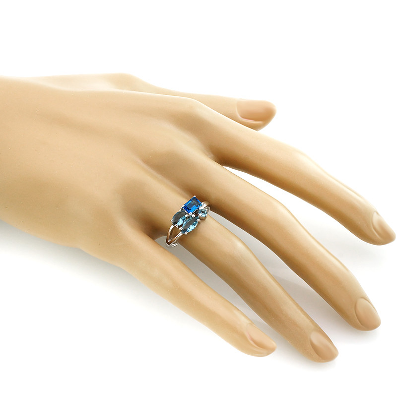 Кольцо с лондон топаз кварц ‒ Mirserebra925.ru