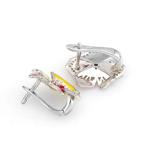 Серьги с эмалью серебряные – Mirserebra925.ru