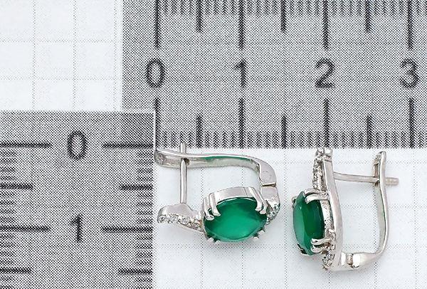 Серьги с зеленый агатом в серебре 925 пробы