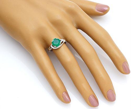 Кольцо с зеленый агатом из серебра 925 пробы
