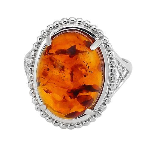 Кольцо с янтарем в серебре 925 пробы ‒ Mirserebra925.ru