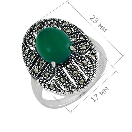 Кольцо с марказитом и зеленым агатом в серебре 925 пробы ‒ Mirserebra925.ru