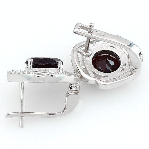 Серьги с гранатом в серебре 925 пробы - Mirserebra925.ru